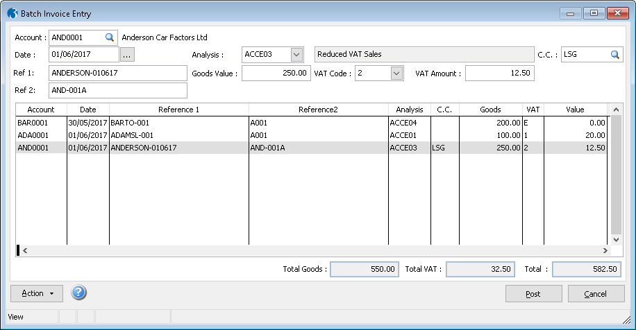 Sales & Purchase Batch Invoice Entry